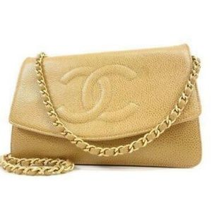 CHANEL Timeless Wallet On Chain WOC Beige Caviar